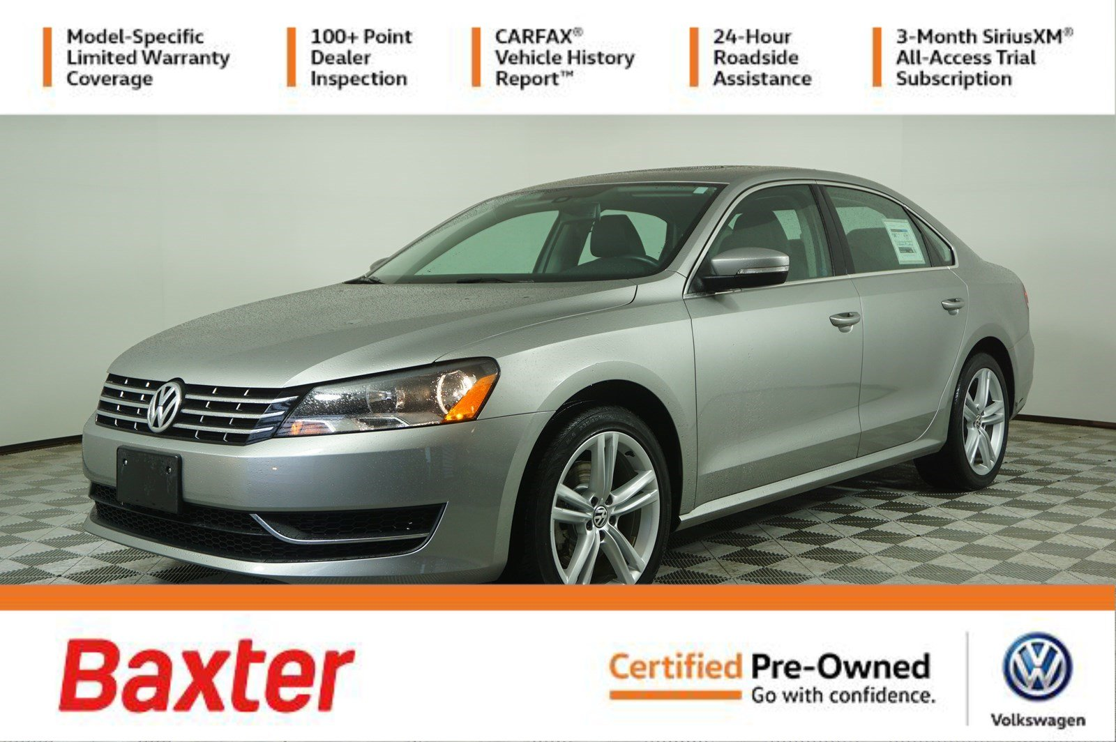Certified Pre-Owned 2014 Volkswagen Passat 4dr Sdn 2.0L DSG TDI SE w/Sunroof